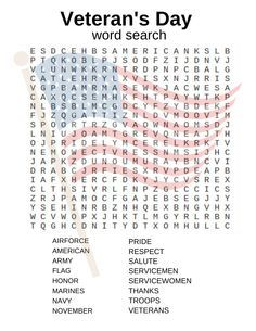 Veteran's Day word search and other activities!