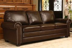 Abbyson Living Bronston Leather Sofa in Brown @besthomehq