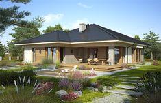 Projekt domu parterowego Fabia IX o pow. 141,5 m2 z obszernym garażem, z dachem kopertowym, z tarasem, z wykuszem, z wejściem od południa, sprawdź!