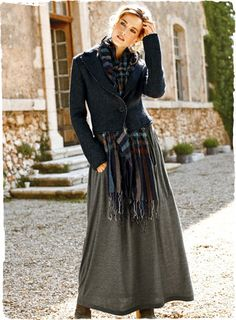 I like this as a winter weekend look.    The wear-everywhere jersey skirt is long and easy, with deep oval pockets, soft gathers and a wide elastic waistband. In mélange grey modal (51%) and polyester (49%).