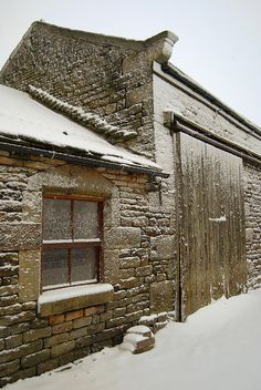 Stone Barn In Winter