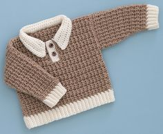 "Love this preppy look! ""Gingerbread Man"" pullover from the book Sweet Baby Crochet."