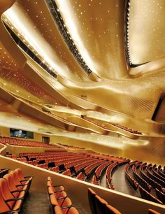 GUANGZHOU OPERA HOUSE, Guangzhou, China, Zaha Hadid Architects, 2010 - The venue consists of two dynamic fluid-form structures, the larger housing an undulating, gilded 1,800-seat hall and the smaller home to a more intimate 400-seat space.