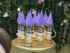 Tubetes decorados no tema Rapunzel