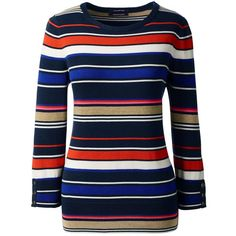Lands' End Women's Petite Supima 3/4 Sleeve Stripe Sweater (990 ZAR) ❤ liked on Polyvore featuring tops, sweaters, neutral, blue striped sweater, three quarter sleeve sweaters, button top, lands' end and petite tops