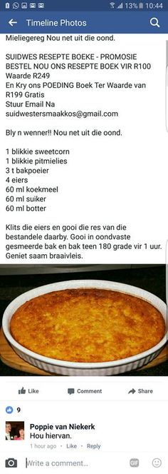 - Marian C Madejski - African Food Cocoa Recipes, Hot Dog Recipes, Coffee Recipes, South African Dishes, South African Recipes, Braai Recipes, Cooking Recipes, Sweetcorn Bake, Kos