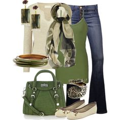 Outfit Inspiration Green and beige outfit. Great for xmas shopping or a casual Thanksgiving dinner:):Green and beige outfit. Great for xmas shopping or a casual Thanksgiving dinner:): Komplette Outfits, Casual Outfits, Fashion Outfits, Fashion Tips, Fashion Hacks, Classy Outfits, Fashion Ideas, Fashion Trends, Fashion Mode