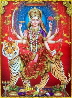 Durga, the Hindu warrior goddess, riding her tiger. Durga Goddess, Hindu, Durga Maa, Kali Goddess, Durga, Navratri Images, Krishna Art