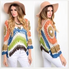 """✳️SALE✳️HPbeautiful crochet top OS OS  Beautiful and so well made crochet top   tag states """"One size"""". I recommend up to 42"""" bust max.   Meant to hang loose   boxy cut   NWT   100% cotton.  I am a 34 full C and this is fit on me Tops"""