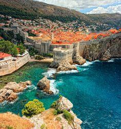 Dubrovnik, Croatia perched on the edge of the Adriatic Sea.