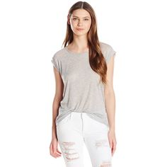 Three Dots Women's Melange Sheer Relaxed Fit Cap Sleeve Tee ($24) ❤ liked on Polyvore featuring tops, t-shirts, white top, white t shirt, three dots tees, white tee and sheer t shirt