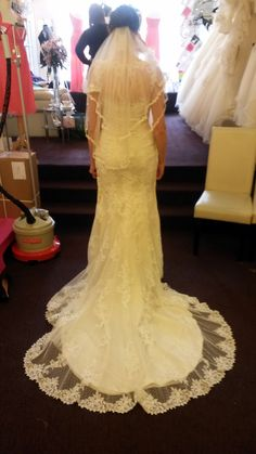 The back of my Justin Alexander 8596 dress with 2 tiered lace edged veil
