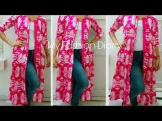 How to make latest front open jacket Girls Dresses Sewing, Dress Sewing Patterns, Sewing Clothes, Clothing Patterns, Diy Clothes, Refashioned Clothes, Pattern Sewing, Kurti Neck Designs, Kurti Designs Party Wear