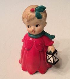 40's 50's Vtg Japan Christmas Bell Figurine Ornament Child Caroling w Lantern