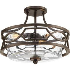 Progress Lighting Soiree Collection 3 -Light Antique Bronze Semi-Flushmount-P350050-020 - The Home Depot