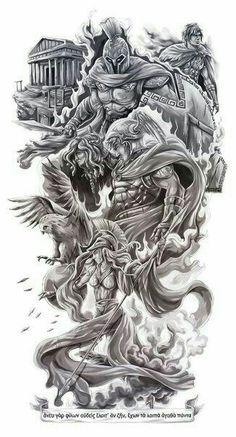 Greek Art Tattoo Mythology 43 Ideas For 2019 God Tattoos, Warrior Tattoos, Future Tattoos, Body Art Tattoos, Sleeve Tattoos, Tattoos For Guys, Tatoos, Symbol Tattoos, Biomech Tattoo