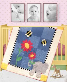 Eloise Elephant is an adorable quilt that's perfect for Baby, and dimensional ears add a fun element. This quilt is a must-have for any baby. The easy to piece and applique quilt pattern includes instructions and templates. Finished size: x Elephant Quilts Pattern, Applique Quilt Patterns, Hand Embroidery Patterns, Felt Embroidery, Block Patterns, Quilting Projects, Sewing Projects, Art Quilting, Quilting Ideas
