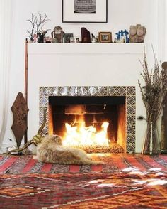 What a better way to spend these cold winter days, than in front of the fireplace? . . . . #dog #animal #pet #fireplace #cosy #bohemian #bohointerior #rugs #interior #thekindreds #kindredspirits #cosy