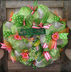 Welcome Spring Wreath Frog Decor Polymesh by WreathDesignsbyAnnie, $47.95