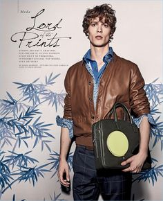 Model Sven de Vries wears a leather Hermes cardigan with an Italo Ferretti shirt, Cains Moore polo, and Louis Vuitton trousers.