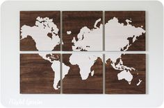 The Wood Grain World Map Screen Print Collection - Walnut Stained. $235.00, via Etsy.