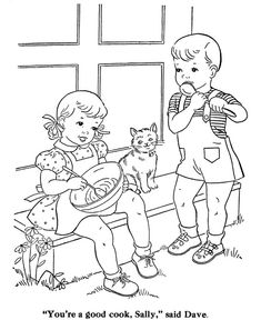 Kids Coloring pages for children Farm Animal Coloring Pages, Cat Coloring Page, Coloring Sheets For Kids, Coloring Pages To Print, Coloring Book Pages, Kids Coloring, Vintage Coloring Books, Painted Books, Colorful Pictures