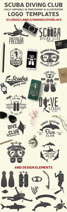 Set of Scuba Diving Clubs Badges