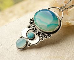 Set Sail Blue Green Silver Agate Turquoise by EONDesignJewelry