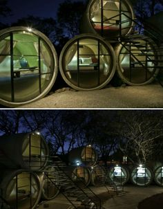 Tube Hotel in Mexico, made from concrete tubes cut into pods