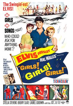 Elvis Presley - Girls Girls Girls - Home Theater Decor -  Movie Musical Poster Print  -13x19 - Vintage Movie Poster - Rock and Roll Poster