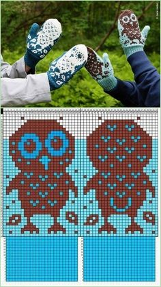 No instructions for mittens, just graphed owl chart to add to your own mitten pattern. This is apparently a copyright issue. A paid pattern from twist collective. Bonnet Crochet, Crochet Mittens, Mittens Pattern, Knitted Gloves, Knit Or Crochet, Crochet Hats, Knitted Owl, Knitting Charts, Knitting Stitches