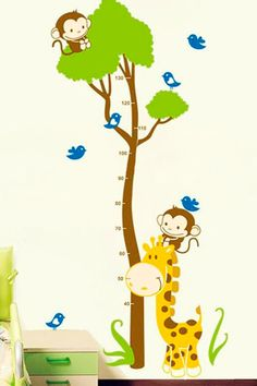 Vente Stickers / 15821 / Enfant / Sticker toise arbre et animaux Multicolore