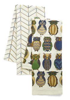 ModCloth Owls Owl the Better Dish Towel Set