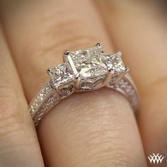 Diamond Engagement Ring for Princess Cut Diamonds_ $2885_http://www.whiteflash.com/engagement-rings/three-stone/3-stone-coeur-de-clara-ashley-diamond-engagement-ring-for-princess-cut-diamonds-1773.htm
