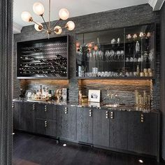 Ebony Oak Wet Bar Cabinets With Black Marble