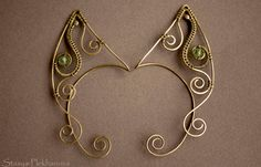 Elven ear cuffs are made of oxidized brass and light green beads. No piercing required. I can make these cuffs of copper, brass and with beads of