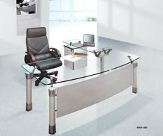 Spacious Office Furniture Design With Modern Desk Equipped With Glass Tops On White Doff Flooring Plan: Work Comfort With Comfort.