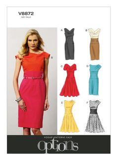 V8872 | Misses' Cowl-Neck or Pleated-Shoulder Dresses Sewing Pattern | Vogue Patterns