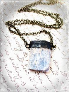 Kyanite Crystal Necklace Blue Crystal Pendant Semi by Mystarrrs