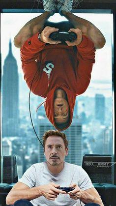 Avengers - Iron Man and Spider-Man - Marvel Marvel Jokes, Marvel Avengers, Funny Marvel Memes, Marvel Heroes, Spiderman Marvel, Funny Comics, Spiderman Makeup, Avengers Room, Spiderman Kids