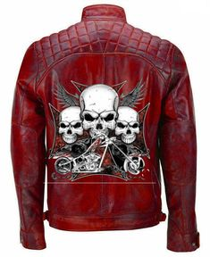Halloween Skull Ride Reinforced Vintage Distressed Brown Biker Leather Jacket