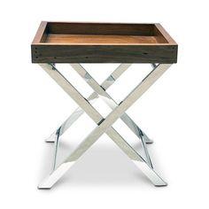 Mesa lateral steel wood x em   inox e madeira laminada envelhecida - 0,60 x 0,65 x 0,60 m (lxaxp)