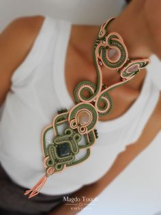 OOAK statement necklace soutache set statement by MagdoTouch