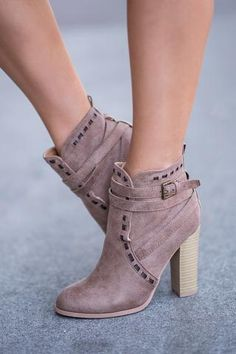 Miss New Bootie Stitch Detailed Strappy Booties (Taupe) - NanaMacs.com - 1