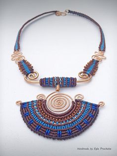 Handmade Jewelry, Fiber Statement Necklace, Cleopatra Blue
