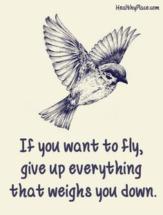 """""""If you want to fly, give up everything that weighs you down."""" ... Or you just change your energy around it. #EAM"""