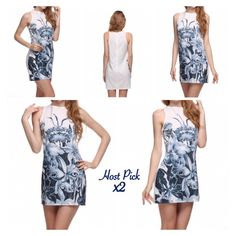HP Floral Print Short Mini Dress Sexy slim round neck sleeveless tank mini dress. Sizes are marked on 4th pic as US. New! Price Firm Unless Bundled Boutique Dresses Mini
