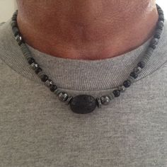 A personal favorite from my Etsy shop https://www.etsy.com/listing/203812248/mens-lava-and-hematite-necklace-with