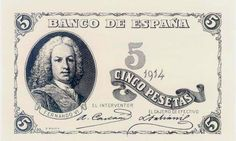 Billetes antiguos españoles- 1914- 5 pesetas, anverso