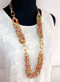 Colorful Multi Strand Beadwork Long Necklace Multi by FantasyNight, $20.00
